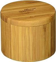 Estilo Single Round Salt Or Spice Box with Lid, Bamboo - Est2585