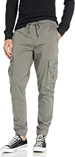 Men's Elastic Waist Stretch Twill Relaxed Fit Cargo Jogger Pants