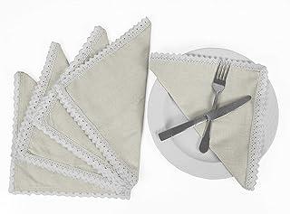 Vargottam Cream Home Décor Parties Dinner Table Linen Re-Usable Napkins Set-Pack of 12