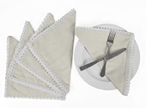 Vargottam Cream Home Décor Dinner Table Linen Re-Usable Decor Napkins Set-Pack of 6