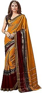 GoSriKi Women's Art Cotton Silk Saree With Blouse Piece