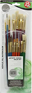 Daler Rowney Simply Assorted Hair Brush Set (25 Pieces)