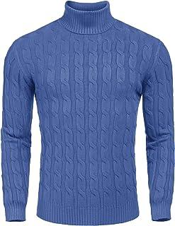 JINIDU Men's Slim Fit Turtleneck Pullover Casual Twisted Knitted Jumper