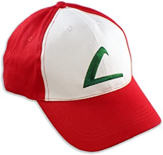 PLAYOLY Ash Ketchum Party Cosplay Trainer Hat - Cool Baseball Cap Accessory - Unisex One Size Fits Most Adjustable Snapback with Embroidered Stitching