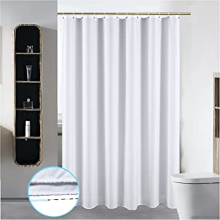 72 x 84 Washable Shower Curtain Liner Bathroom Water Repellent Fabric Cloth Polyester (Best Hotel Quality Friendly) with Curved Plastic Hooks Set - Extra Long, Pure White