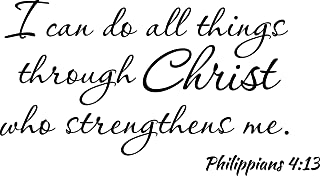 Empresal Wall Decal I Can Do All Things Through Christ Who Strengthens Me Philippians 4:13 Bible Verse Quote