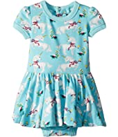 Rock Your Baby - White Unicorns Short Sleeve Waisted Dress (Infant)
