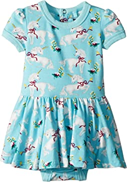 Rock Your Baby White Unicorns Short Sleeve Waisted Dress (Infant)