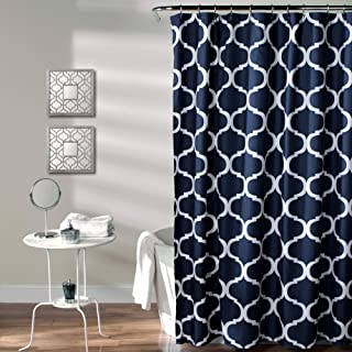 Lush Decor Geo Trellis Pattern Print Fabric Navy Bathroom Shower Curtain, 72