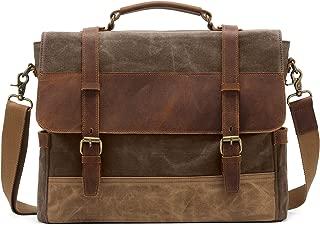 Kattee Men's Leather Canvas Messenger Bag Briefcase Retro Satchel Shoulder Bag