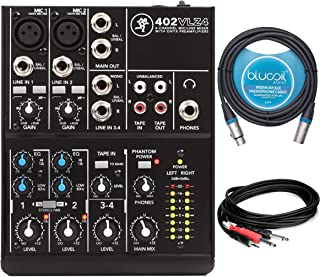 $99 Get Mackie 402VLZ4 4-Channel Mixer with 2 Onyx Mic Preamps Bundle with Hosa 10-FT 3.5mm to 2 Mono 1/4-Inch Cable, and Blucoil 10-FT Balanced XLR Cable