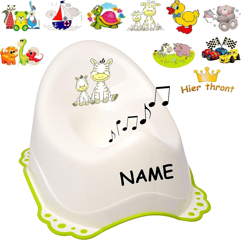 T/öpfchen // Nachttopf // Babytopf gr/ün /_ Motiv-Mix mit gro/ßer Lehne alles-meine.de GmbH Musik /& Sound Melody Anti RUTSCH wei/ß Jungen /_ inkl Spritzschu.. Name Bieco
