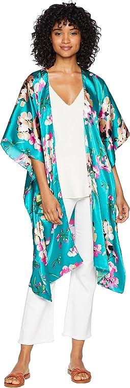 Asian Floral Print Kimono