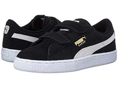 Puma Kids Suede 2 Straps (Little Kid) (Puma Black/Puma White) Kids Shoes