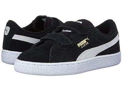 Puma Kids Suede 2 Straps (Little Kid) (Puma Black/Puma White) Kids Shoes