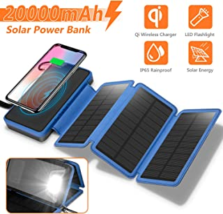Solar Charger 20000mAh, 4.5W Qi Wireless Charger Portable Power Bank External Battery Pack with 3 Solar Panels, Flashlight, Dual 5V/2.1A USB Port, IP65 Rainproof for Camping Hiking Fishing(Blue)