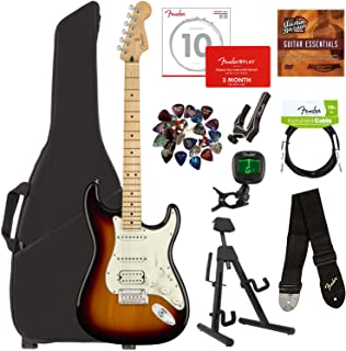 Fender Player Stratocaster HSS, Maple - 3-Color Sunburst Bundle with Gig Bag, Stand, Cable, Tuner, Strap, Strings, Picks, Capo, Fender Play Online Lessons, and Austin Bazaar Instructional DVD