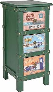 ts-ideen Mobiletto Comodino stile Industriale 30x63 cm in Verde effetto metallo invecchiato