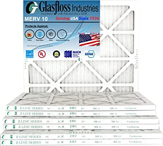 Glasfloss 16x25x1 MERV 10 Pleated AC Furnace Filter- (Pack of 12)- Proudly Made In The USA.