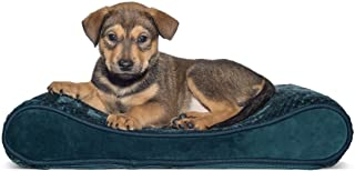 Furhaven Pet Dog Bed   Orthopedic Minky Plush & Velvet Luxe Lounger Pet Bed for Dogs & Cats, Spruce Blue, Small