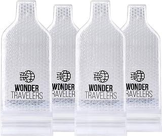 WONDER TRAVELERS ワインボトル保護バッグ 瓶を安全にオシャレに持ち運び 日本酒 ビール 洋酒をラッピング 4枚セット