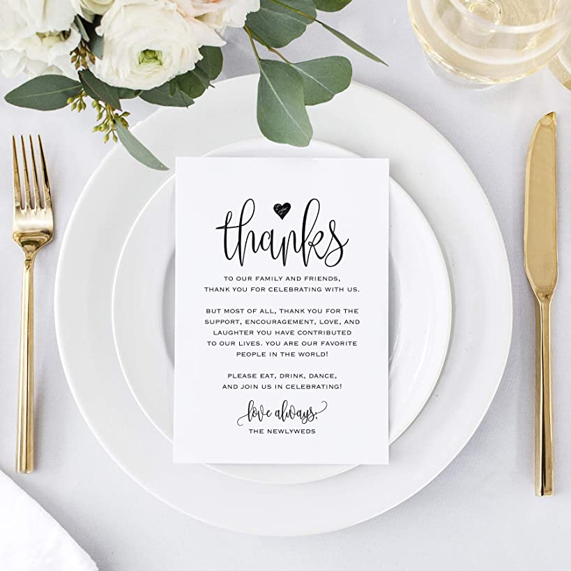 Wedding Thank You Place Setting Cards, 4x6 Print to add to your Table Centerpieces and Wedding Decorations —?Pack of 50
