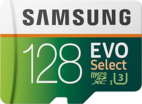 SAMSUNG: EVO Select 128GB MicroSDXC UHS-I U3 100MB/s Full HD & 4K UHD Memory Card with Adapter (MB-ME128HA)