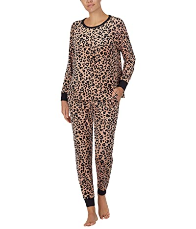 Kate Spade New York Stretch Velour Jogger Pajama Set (Painted Leopard) Women