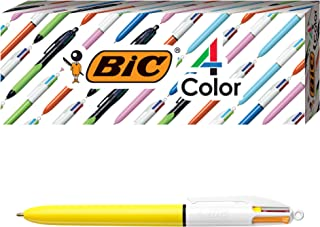 BIC 4-Color Fashion Ballpoint Pen, Yellow Barrel, Medium Point (1.0 mm), Assorted Inks, 4-Count
