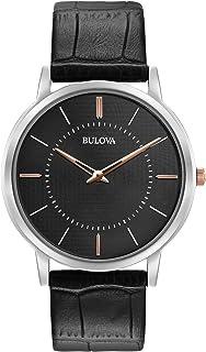 Bulova - 98A167 - Reloj de Pulsera de Diseño para Hombre - Ultrafino - Correa de Cuero - Negro