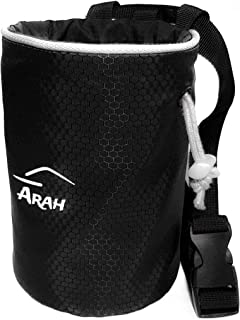 Arah Chalk Bag for Rock Climbing Made from Ripstop Fabric with Rear Zip Pocket, Quick Clip Belt and Mini Carabiner