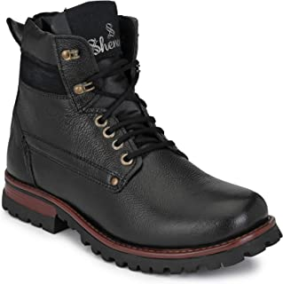 Shences Men's Genuine Leather Casual, mid top Tough Boots for Men.