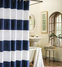 EZON-CH Customize Waterproof Navy Blue White Nautical Stripe Print Polyester Fabric Bathroom Shower Curtain 36x72IN