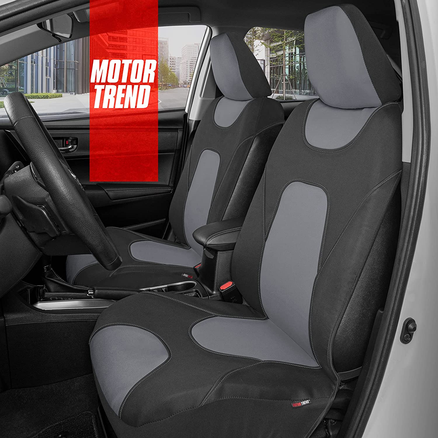 Motor Trend AquaShield Car Seat Covers for Front Seats, Gray – 3 Layer Waterproof Seat Covers, Neoprene Material with Modern Sideless Design, Universal Fit for Auto Truck Van SUV