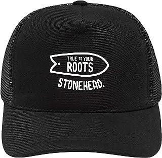 fb20d99c0c18a Boné Trucker - Black Roots StoneHead (preto)