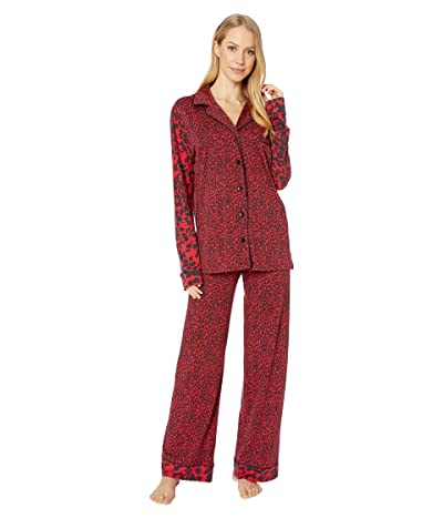Cosabella Bella Long Sleeve Top Pants PJ Set (Mystic Red Animal/Black) Women