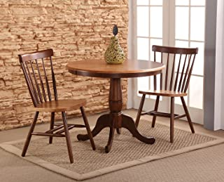 International Concepts 36-Inch Round Pedestal Table with 2 Copenhagen Chairs, Set of 3