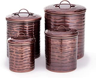 Antique Pewter Old Dutch 501SS 4 Piece Art Nouveau Stainless Steel Canister set One Size