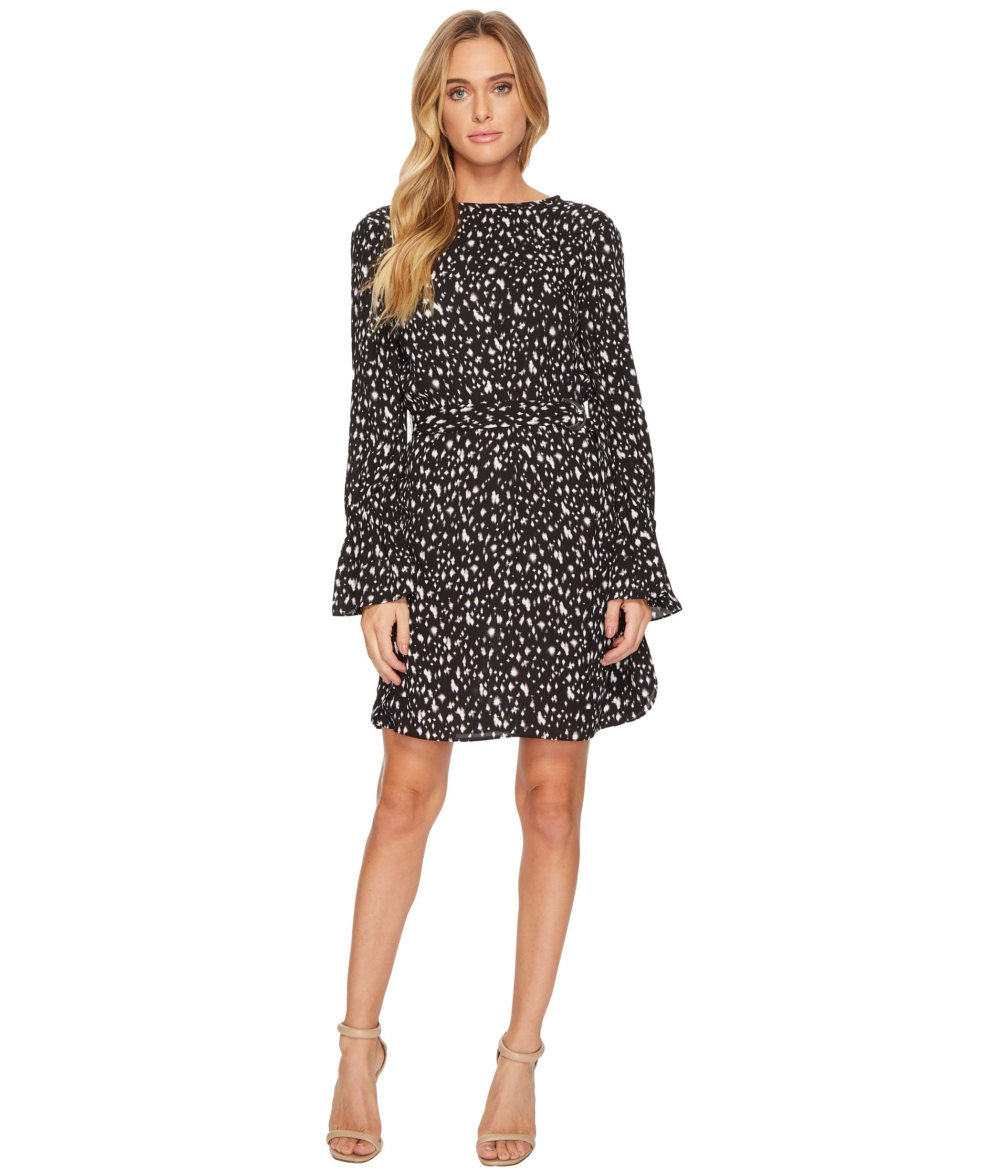 ELLEN TRACY Crew Neck Dress With D-Ring Belt, Starry Night