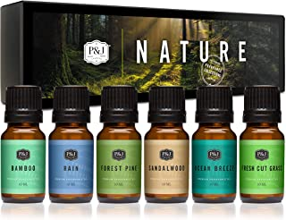 P&J Trading Nature Set of 6 Premium Grade Fragrance Oils - Forest Pine, Ocean Breeze, Rain, Fresh Cut Grass, Sandalwood, B...