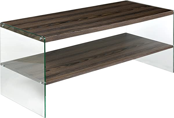 OneSpace 50 JN19CTWN Escher Skye Coffee Table Clear Glass And Wood Walnut
