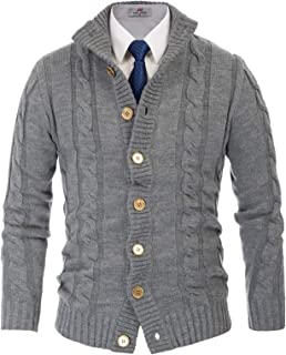Men's Stylish Stand Collar Cable Knitted Button Cardigan Sweater