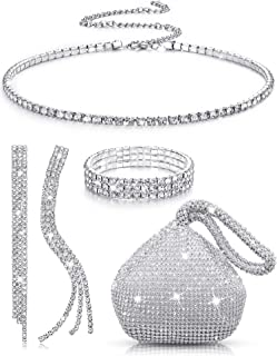 Women Silver Clutch Purse Rhinestone Jewelry Set 4 Pieces Rhinestone Earrings Bridal Wedding Choker Bracelet Dangle Earrin...