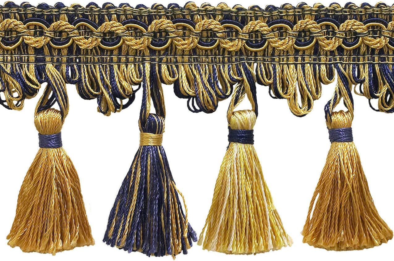 Bombing new work Limited Special Price Gold Navy Blue 2.75'' Tassel Yards 5 Trim Admiralty Fringe