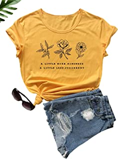 SheIn Women's Casual Short Sleeve Letter & Floral Print Tee Top