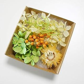 ハーバリウム 花材 キット あじさい かすみ草 シルバーデージー プリザーブドフラワーキット (イエロー)