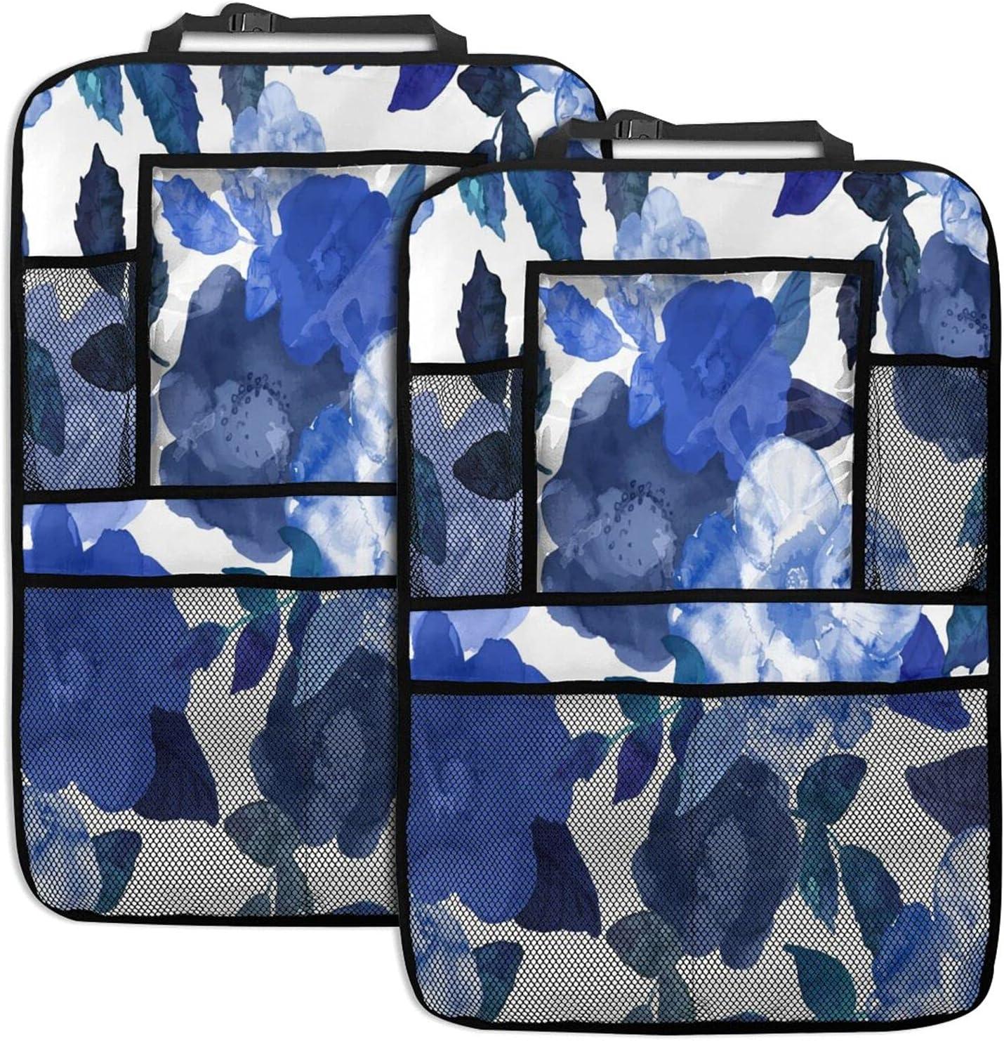 IBILIU NEW Blue Flowers Back Seat Protector Watercolor Regular store Pack Flower 2