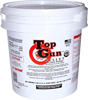 JT Eaton 754 Top Gun Pellet Place Packs Rodenticide Bromethalin Neurological Bait with Stop-Feed Action and Bitrex, for Mice and Rats (Pail of 128)