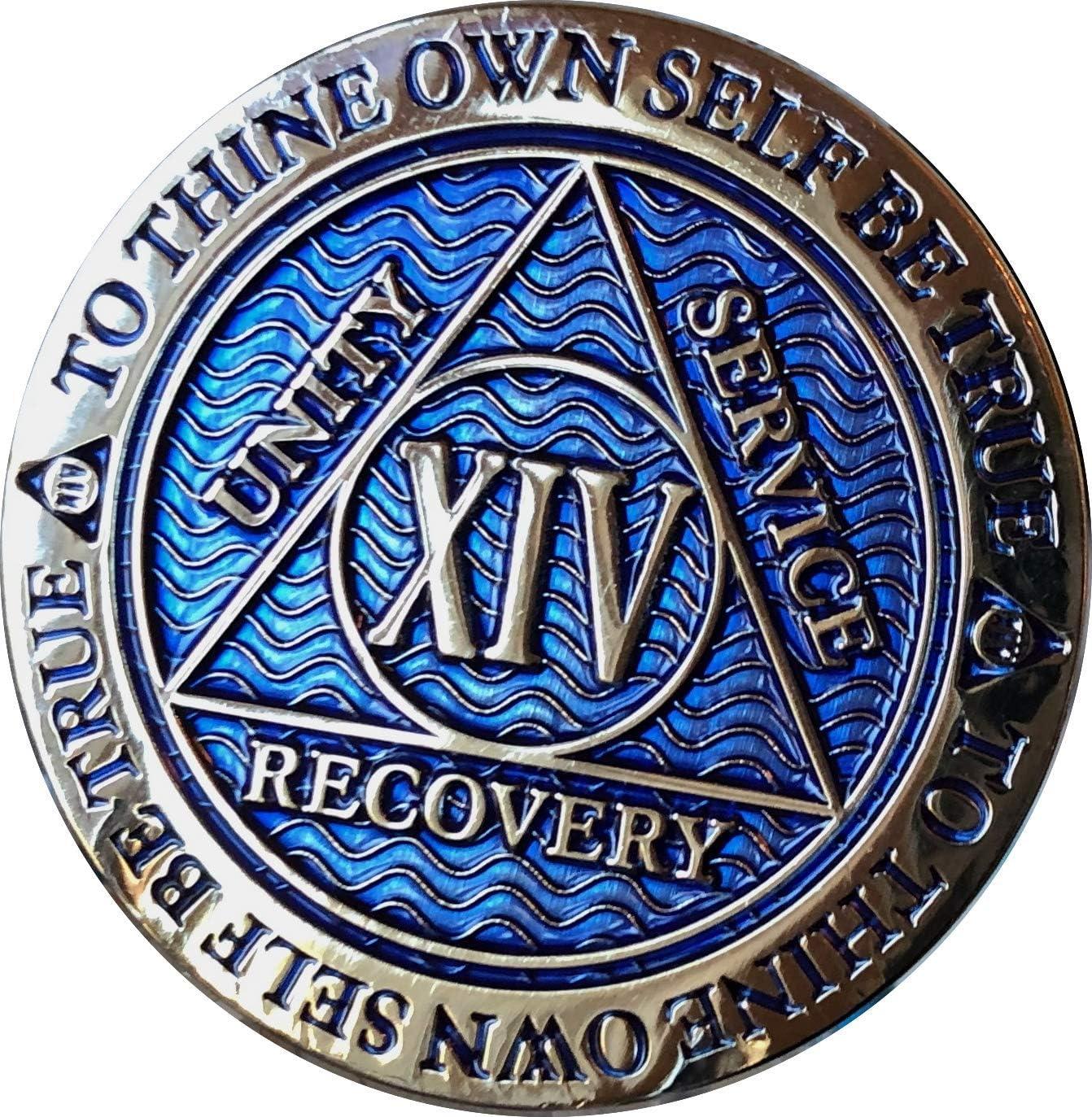14 Year AA Regular dealer Medallion Dusty Blue Chip XIV Gold Plated depot Color