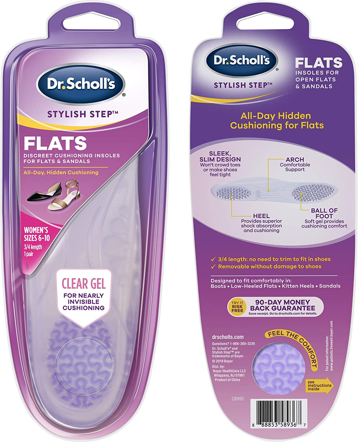 Scholls CLEAR CUSHIONING Insoles for Flats Dr //// Clear Gel Absorbs Shock for Discreet Cushioning and All-Day Comfort Womens 6-10